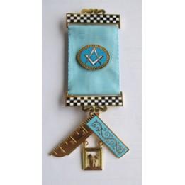 P M Breast Jewel - S&c Ribbon Emblem, Chequer Bars