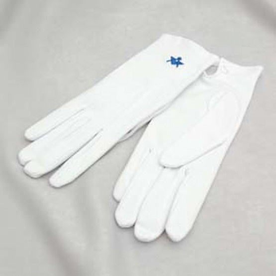 G102 White Cotton Gloves (pair) With Square & Compass Motif (state Size)